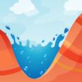 洪水飞溅峡谷